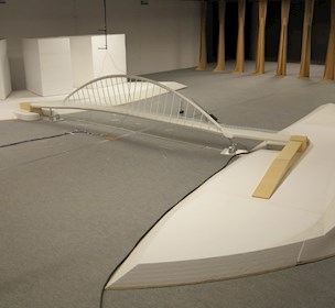 Testing the aeroelastic full bridge model in our wide boundary-layer wind tunnel