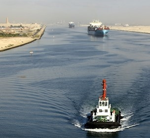 Pilot boat and freighter on the Suez canal